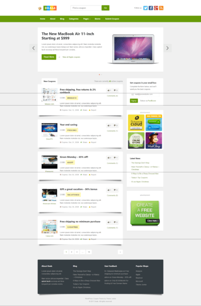 deals coupon wordpress theme free download