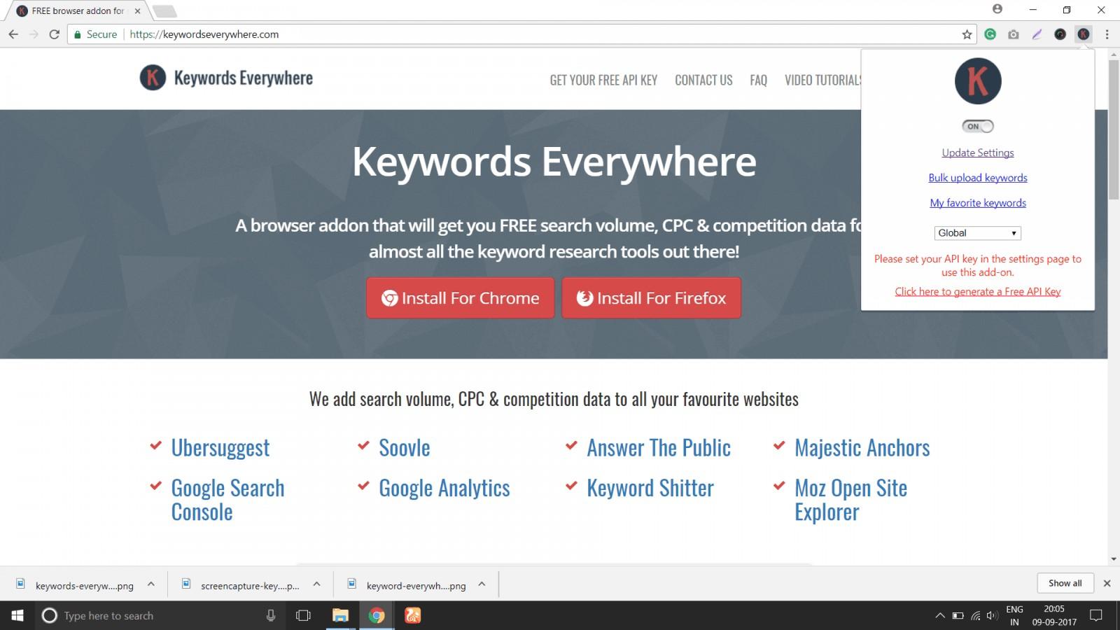 keyword everywhere extension update settings