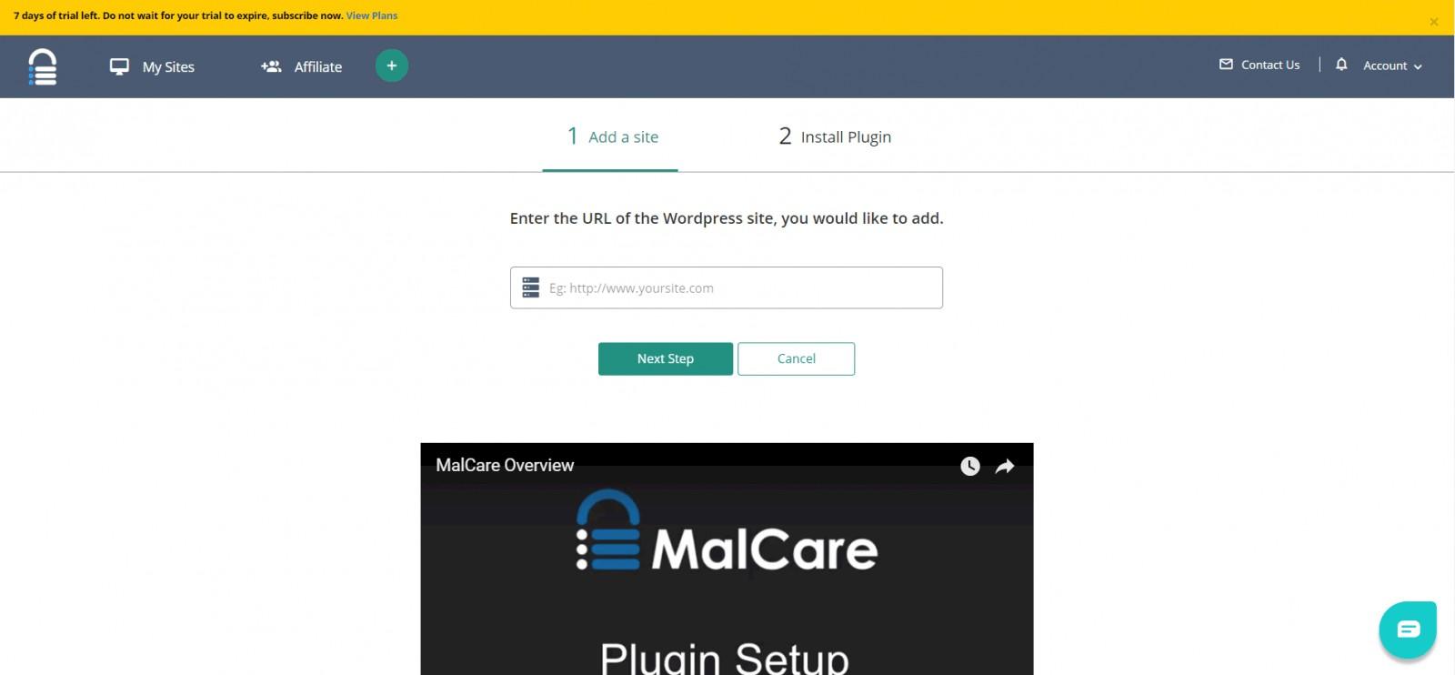 malcare add site