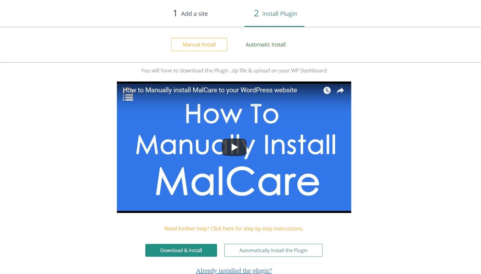 malcare install plugin