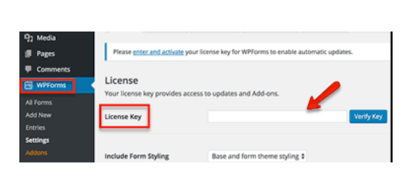 wpforms lisence key