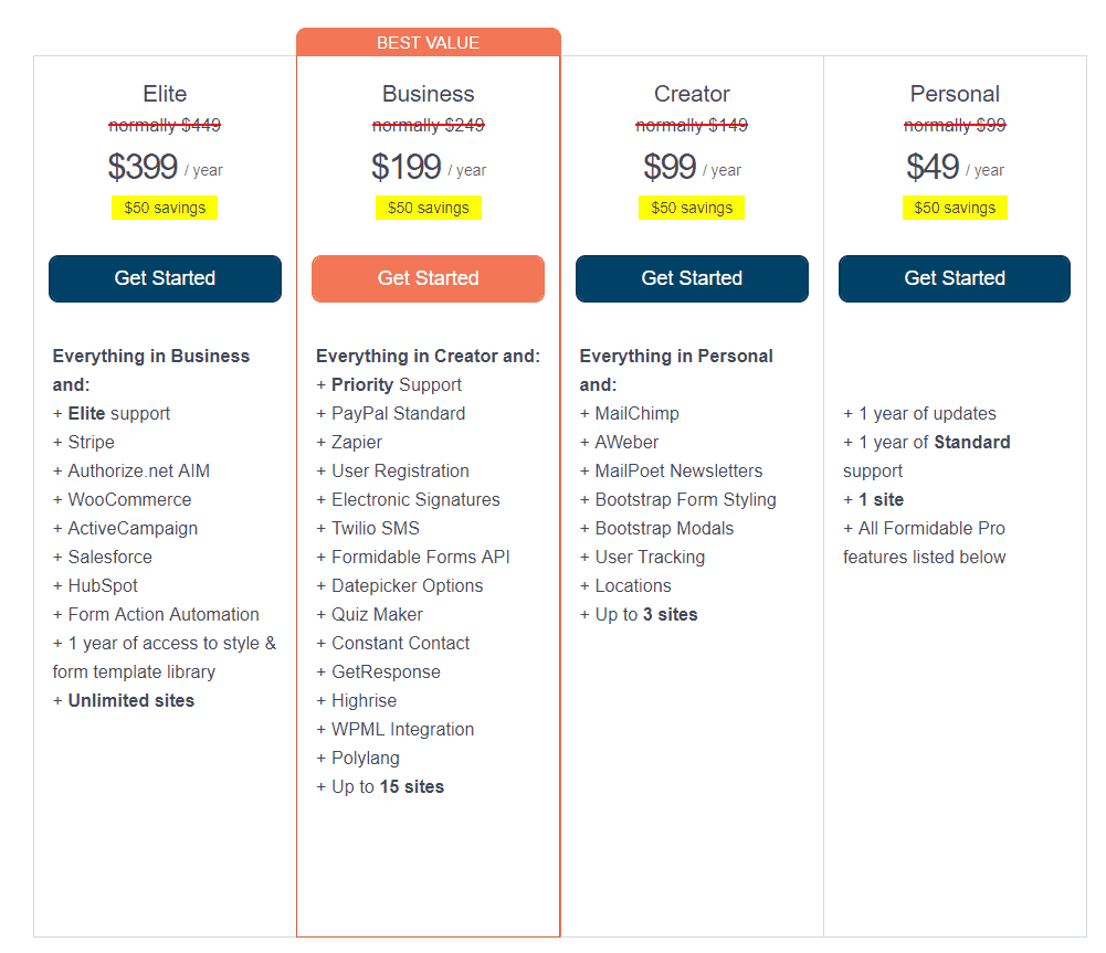 pricing-formidable forms