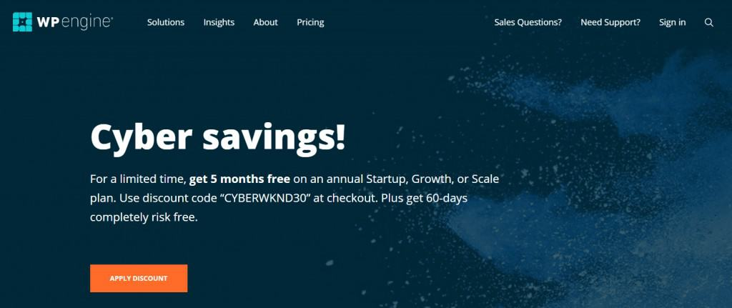 WPEngine Black Friday Deal- Apply discount