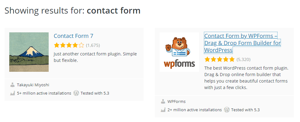 WPforms active installation