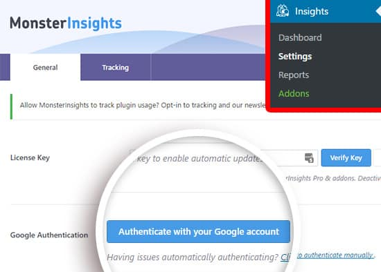 Monsterinsights review-authenticate google analytics