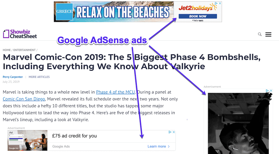 google adsense example