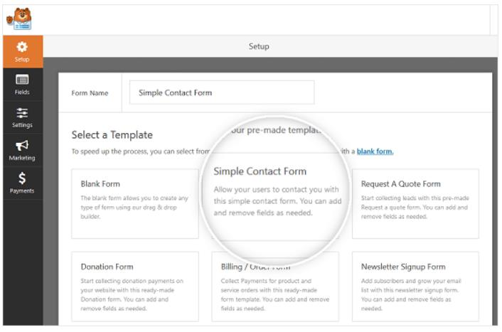 select simple contact form
