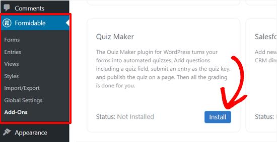install formidable quiz maker